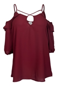 Plus Size Chiffon Criss Cross Strap Off Shoulder Top Burgundy