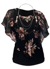 Plus Size Layered Poncho Top Floral Print Black 17109