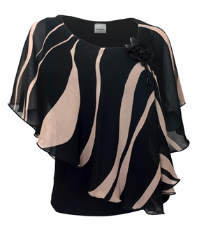 Plus size Layered Poncho Top Stripe Print Taupe