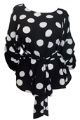Plus Size Round Neck Chiffon Wrap Back Top Polka Dot Print Black