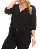 Plus Size Cold Shoulder Chiffon Top Black