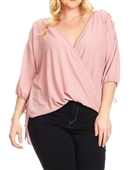 Plus Size Cold Shoulder Chiffon Top Pink