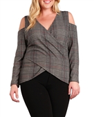 Plus Size Cold Shoulder Plaid Top