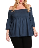 Plus Size Off Shoulder Babydoll Top