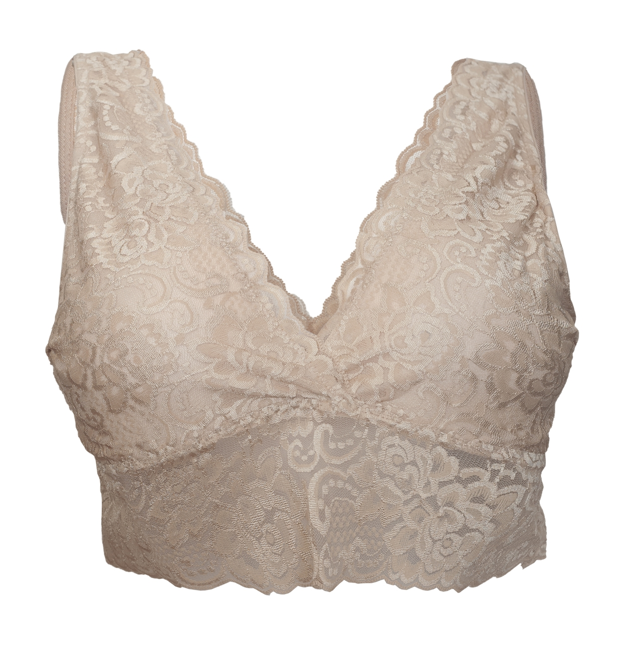 5ddc80220c Plus Size Deep V-Neck Unpadded Lace Plunge Bralette Bra Nude