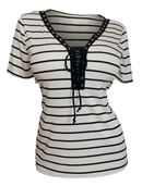 Plus Size V-Neck Lace Up Stripe Top White