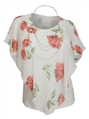 Plus Size Layered Poncho Top Floral Print White 18219