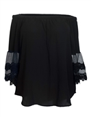 Plus Size Off Shoulder Lace Bell Juliet Cuff Top Black
