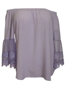 Plus Size Off Shoulder Lace Bell Juliet Cuff Top Plum