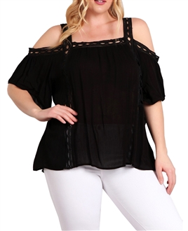 Plus Size Cold Shoulder Square Neck Top Black 18219