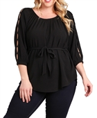 Plus Size Waist Tie Hi-Lo Hem Top Black