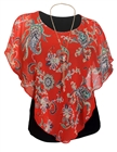 Plus Size Layered Poncho Top Floral Print Coral 18223