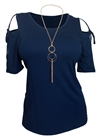 Plus Size Cold Shoulder Top With Necklace Detail Navy