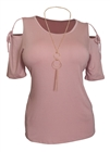 Plus Size Cold Shoulder Top With Necklace Detail Pink