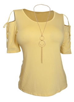 Plus Size Cold Shoulder Top With Necklace Detail Yellow