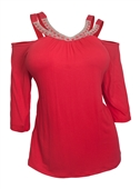 Plus Size Rhinestone Detail Cold Shoulder Top Coral