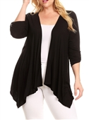 Plus size Open Front Asymmetric Hem Cardigan Black