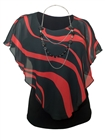 Plus Size Layered Poncho Top Black Red Designer Print 18421
