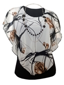 Plus Size Layered Poncho Top White Designer Print 18421
