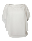 Plus Size Layered Poncho Top Crochet Shoulder White 18528