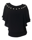 Plus Size Layered Poncho Top Cold Shoulder Black 18528