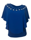 Plus Size Layered Poncho Top Cold Shoulder Royal Blue 18528