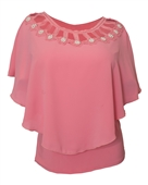 Plus Size Layered Poncho Top Cold Shoulder Pink 18528