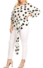Plus Size Round Neck Chiffon Wrap Back Top Polka Dot Print White