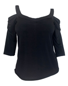 Plus Size Cold Shoulder Top Black 18630