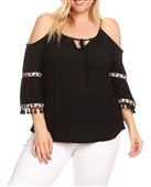 Plus Size Cold Shoulder Bell Sleeve Top Black