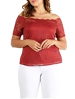 Plus Size Off the Shoulder Lace Top Rust