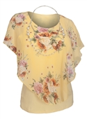 Plus Size Layered Poncho Top Floral Print Yellow  1889
