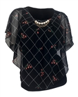Plus Size Layered Poncho Top Designer Print Black 1889