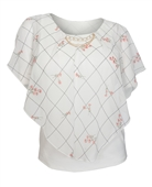 Plus Size Layered Poncho Top Designer Print White 1889