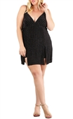 Plus size Glitter V-Neck Mini Romper Dress Black