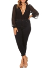 Plus Size Long Bubble Sleeve V-Neck Bodysuit Black