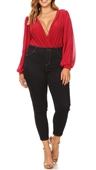 Plus Size Long Bubble Sleeve V-Neck Bodysuit Red