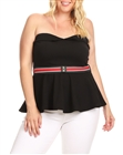 Plus Size Strapless Peplum Sweetheart Top Black 18918