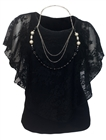 Plus Size Layered Poncho Top Floral Lace Black 18927