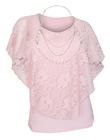 Plus Size Layered Poncho Top Floral Lace Pink 18927