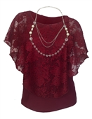 Plus Size Layered Poncho Top Floral Lace Burgundy 18927