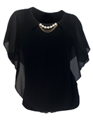 Plus Size Layered Poncho Top Pearl Pendant  Black 18927