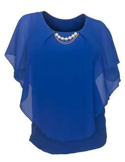 Plus Size Layered Poncho Top Pearl Pendant  Royal Blue 18927