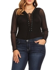 Plus Size Lace Up Sheer Mesh Sleeve Bodysuit Black