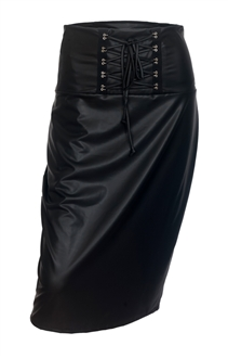 Plus Size Leatherette Lace Up Skirt Black