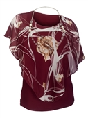 Plus Size Layered Poncho Top Floral Print Burgundy 181019