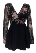 Plus size Lace Overlay Romper Dress Black Floral Print 1915