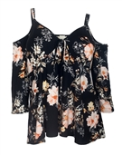 Plus Size Cold Shoulder V-Neck Top Black Floral Print