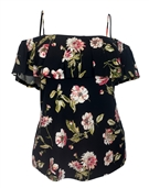 Plus Size Flounce Off Shoulder Top Black Floral Print