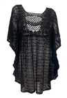 Plus Size Sheer Crochet Lace Poncho Top Black 19618